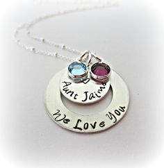 Hand Stamped Special Aunt Necklace in Sterling Silver by EllenBKeepsakes, $51.00