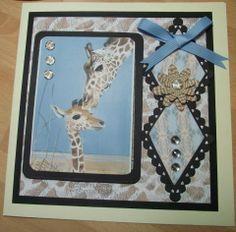 Sample as seen on Create and Craft Create And Craft Tv, Card Designs, Beautiful Artwork, Paper Crafting, Sally, Handmade Cards, Giraffe, Safari, Birthday Cards