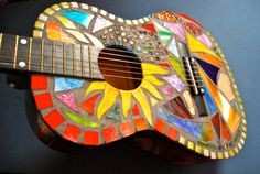 "Stained glass mosaic guitar- ""Illumination"""