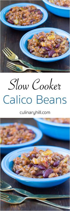 Slow Cooker Calico Beans are full of ground beef, bacon, 3 kinds of beans, and plenty of brown sugar for sweetness. Makes a great dish for parties!