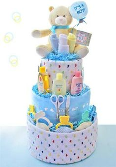 Baby Shower Gifts for Boys | it s a boy baby bear 3 tier diaper cake congratulations it s a boy is ...