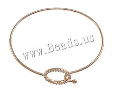 Brass Bangle, Donut, real rose gold plated, with rhinestone, nickel, lead & cadmium free, 15x15mm, 2mm