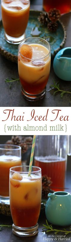THAI ICED TEA WITH ALMOND MILK - HAPPY&HARRIED. Enjoy creamy iced tea swirled with almond milk in this vegan version of the famed Thai iced tea made with Milo's Tea. #PassTheMilos #PMedia #Ad #happyandharried