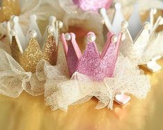 A princess party must have! Use these Glitter Crown Clips for the birthday girl or hand them to each guest to turn them into an instant princess! Crowns are ...