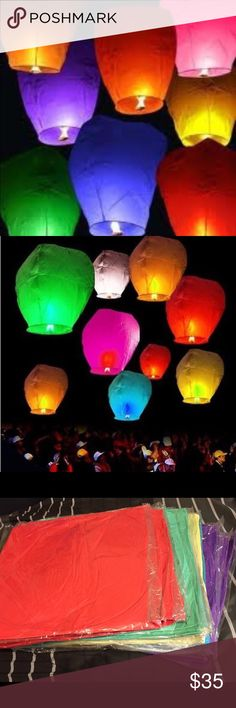 Sky Lanterns assorted colors Make you special event unforgettable and unique with sky lanterns. Each pack come with 20 assorted colors (red, green, yellow, purple and blue). Other