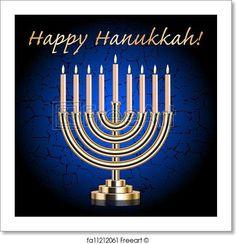 Illustration about Vector Happy Hanukkah! turquoise wish card with Hanukkah Menorah. Illustration of blue, card, light - 27634144