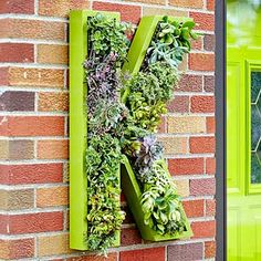 """Living Monogram Wreath  The homeowners' living monogram """"wreath"""" was made from a plywood back, 2-inch cedar boards, and chicken wire. The form was spray-painted, then filled with sphagnum peat moss and succulents. Hooks on the back make it easy to remove, clean, and add new plants."""