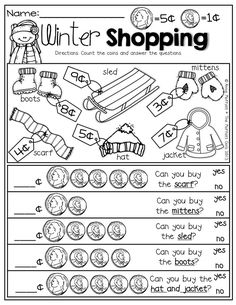 Money management worksheets—-Winter Shopping with nickels and pennies! Prefect for adding up to 10 and comparing numbers! Teaching Money, Student Teaching, Teaching Time, Math For Kids, Fun Math, Math Games, Maths, Math Classroom, Kindergarten Math