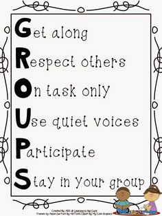 {Free} Groups Anchor Chart to help students understand expectations when working with groups.