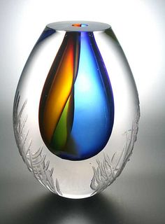 Leerdam Glassblowing: Unusual glass art object blown by master glassmaker Gert Bullee designed by Patrick de Keijzer