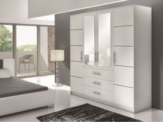 Dimensions: Width: 196 cm / Height: 200 cm / Depth: 58 cm / Available colour: White + mirror Oak + mirror Made of high quality MDF board and PVC Mirrored Wardrobe Doors, Oak Wardrobe, Corner Wardrobe, Wardrobe Door Designs, Wardrobe Drawers, Sliding Wardrobe Doors, Wardrobe Cabinets, Bedroom Wardrobe, White Wardrobe