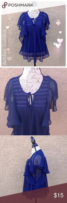"""Mudd ruffled navy blue blouse Beautiful ruffled blouse.  Colors: navy blue Condition - very good. Size: XS  Measurements:  Shoulders - 11.5"""" Bust - 14.5"""" Waist - 15.5""""  Length - 25.5"""" All measurements taken flat and relaxed. Fabric content: 100% polyester  Offers are welcome. Bundle 2+ items and get 15% off. No trades, sorry. Actual color of item may vary slightly from picture. Mudd Tops Blouses"""