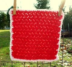 Solid Red with White Border Hand Crocheted Wash/Dish Cloth 100% Cotton by NortherNights on Etsy