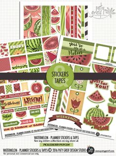 My new adventure: Planners =) Here is the Watermelon Planner Stickers & Washi Tapes. Grab them! From Paty Greif - Design Studio. Printable Planner, Planner Stickers, Printables, Arc Planner, Planner Sheets, Washi Tapes, Pocket Letters, Happy Mail, Snail Mail