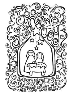 """♥ ♥ ♥ this!!! ... """"Good News Of Great Joy"""" Nativity Scene Coloring Page by Hope Ink"""