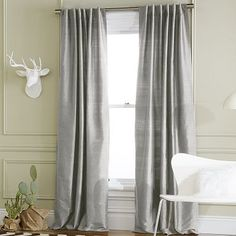 Soho Silk Window Panel - Pewter #WestElm  *not sure why, but i feel like i need a white faux deer head...