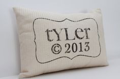 personalized pillow, baby pillow, childs name pillow, birth pillow, newborn gift - The Tyler via Etsy