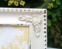 Picture Frame,  5x7, Ornate, Shabby Chic, Distressed , Nurery, Wedding, White, Baroque, wall hanger and standing easel  (Los Angeles)