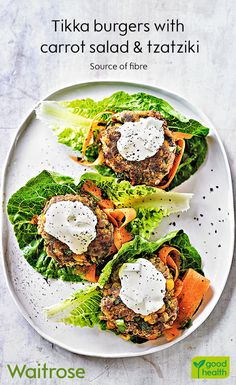 Out tikka burgers are a great way to get more fibre in your diet. Serve with a carrot salad and a dollop of tzatziki. See the full recipe on the Waitrose website. Healthy Eating Recipes, Clean Recipes, Veggie Recipes, Indian Food Recipes, Beef Recipes, Vegetarian Recipes, Cooking Recipes, Delicious Dinner Recipes, Yummy Food