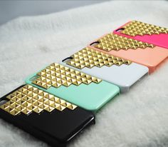 golden studded iphone4 case. love these! now I need an iphone.