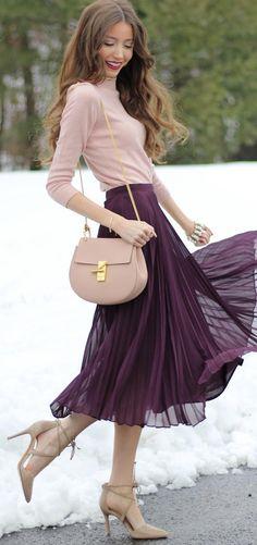 #winter #fashion /  Pink Turtleneck / Purple Tulle Skirt / Tan Pumps