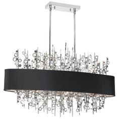 (K)7LT Horiz Cry Chandelier w/BLK-SV Shd : PIC347HC-PC-BK | Living Lighting Home Office