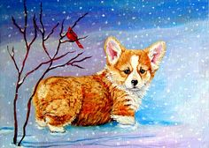 Pembroke Welsh Corgi Greeting Card featuring the painting First Snow by Lyn Cook