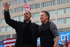 Bruce Springsteen Photos - U.S. President Barack Obama and rocker Bruce Springsteen wave to a crowd of 18,000 people during a rally on the last day of campaigning in the general election November 5, 2012 in Madison, Wisconsin. Obama and his opponent, Republican presidential nominee and former Massachusetts Gov. Mitt Romney are stumping from one 'swing state' to the next in a last-minute rush to persuade undecided voters. - Obama Campaigns In Midwest Swing States One Day Before Election Day