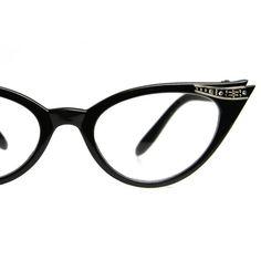 Clear Lens Cat Eye Glasses 60's Vintage