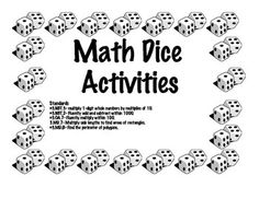 Math Dice Activities-- Grades 2-4 $2.99