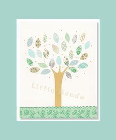 Baby Girl Nursery Prints, Aqua Nursery, Nursery Tree by LittleMonde, $16.00