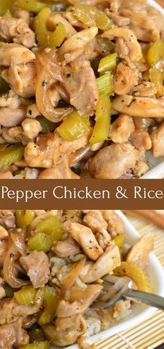 Copycat Pepper Chicken and Rice recipe. Once you try this homemade version of Panda Express Pepper Chicken, you'll never go back to take-out. Juicy, tender chicken thigh meat is sauteed with onions and celery and cooked in black pepper soy sauce. Easy and Celery Recipes, Onion Recipes, Meat Recipes, Cooking Recipes, Healthy Recipes, Vitamix Recipes, Asian Celery Recipe, Sauce Recipes, Chicken Peppers And Onions