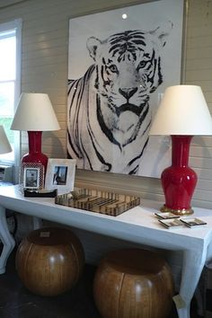 Animal Art, it would be cool to have something like this in your rooom Pet Tiger, Tiger Art, Sideboard Decor, Safari Theme, Love Wall, Mural Art, Murals, Animal Decor, Wall Art Pictures