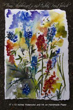 #Texas #Blue #Bonnets #Watercolor #Painting