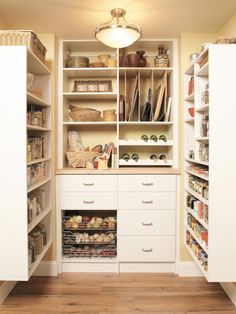 Pantry Organization Made Easy: If you need to add pantry space but don't have the money to renovate, simply add spacious shelves to your walls for a custom look on a budget.  From DIYnetwork.com