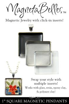 """MagnetaBelles Square Magnetic Pendant Trays. Includes two 1"""" square inserts with glass. Annie Howes."""