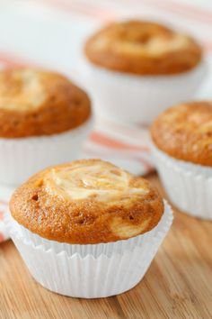 Pumpkin Cream Cheese Swirl Muffins - The fastest and most delicious muffins you'll ever make!