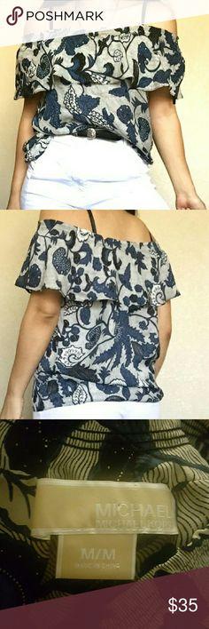 Silk Michael Korea blouse Striped blue and white off the shoulder blouse MICHAEL Michael Kors Tops Blouses