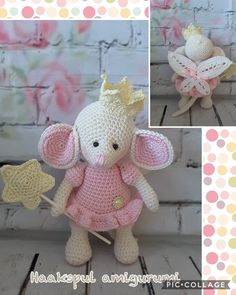 Leuk muisje gemaakt, kooppatroon is van https://www.etsy.com/nl/listing/547746938/amigurumi-crochet-cute-fairy-princess