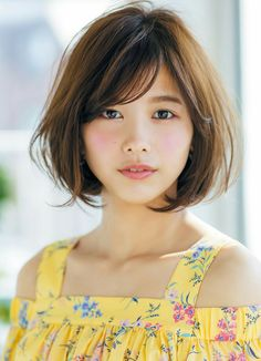 Risa Watanabe Round Face Haircuts, Hairstyles For Round Faces, Short Bob Hairstyles, Girl Short Hair, Short Hair Cuts, Short Hair Styles For Round Faces, Curly Hair Styles, Korean Short Hair, Japanese Hairstyle