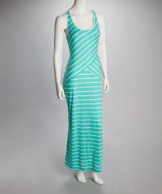Take a look at this Mint & White Stripe Crisscross Maxi Dress by Bailey Blue on #zulily today!