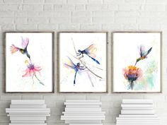 Set of hummingbirds and dragonfly with flowers prints,3 fine art wall decor, Flying birds Watercolor painting, Bright colors artwork poster Bird Artwork, Watercolor Artwork, Watercolor Bird, Bird Poster, Flying Birds, Print Artist, Hummingbirds, Bright Colors, Flower Art