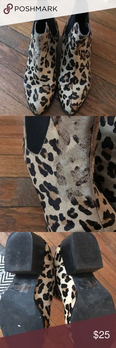 Steven Madden Leopard Print Booties Size 7.5 Real Cow Fur- Hair, Elastic stretch makes them easy to put on Steve Madden Shoes Ankle Boots & Booties
