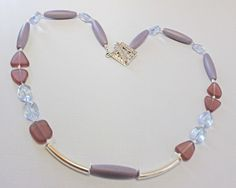 Lilac Necklace Silver Noodle Beads Purple di BEADEDNECKLACESHOPPE