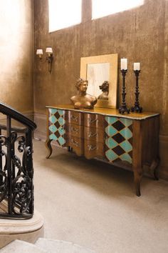 Curved Sideboard Arlequin Turquoise ( L 64 x H 35 ½ x D 20 ¼ in )