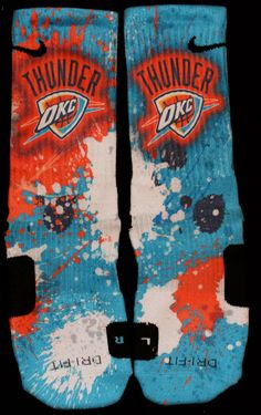 Oklahoma City Thunder Inspired Custom Nike Elite Socks  Each pair is custom created when you order. There are minor flaws in each creation -- no two socks are the same.  These are authentic Nike Elite socks for sale. The design on the sock was not created by Nike, but was created and customiz...