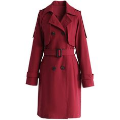 Chicwish Classic Double-breasted Trench Coat in Wine ($70) ❤ liked on Polyvore featuring outerwear, coats, red, double-breasted coat, red coat, red trenchcoat, cotton coat and cotton trench coat