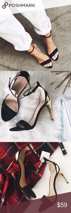 """nwt//zara • black + gold contrast heels ▫️Zara basic spring/summer 2013 collection contrast heels ▫️black/gold ▫️ankle strap, open toe ▫️size: 8 ▫️heel height: approx 4"""" ▫️condition: new with box; box may have sticker residue Zara Shoes Heels"""
