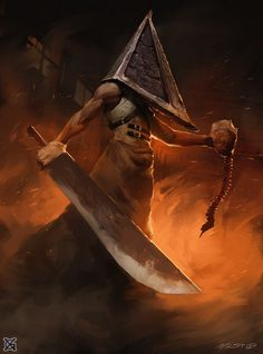 Pyramid Head – Silent Hill fan art by mist XG Silent Hill Art, Silent Hill Nurse, Dark Fantasy Art, Dark Art, Horror Movie Characters, Horror Movies, Arte Horror, Horror Art, Pyramid Head