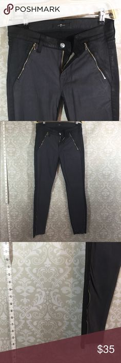 7 For All Mankind Black and Gray Skinny Jeans New without Tag.  Never worn.  7 For All Mankind Jeans.  Black denim is has a shine to it.  Gray contrast is soft suede like. Silver detailing zippers, tags and button.  Size 28.  Please ask any question you might have.  Reasonable offers Welcome.  Bundle for savings.  Thank you for shopping in my closet! 7 For All Mankind Jeans Skinny